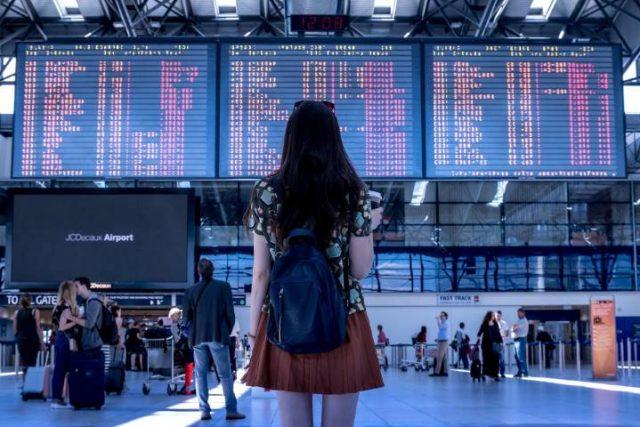 Airport Woman Flight Boarding Traveling Tourist